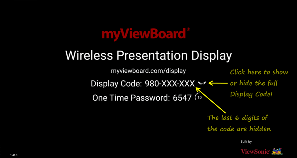 Screenshot of Display for Android showing new show and hide Display Code function