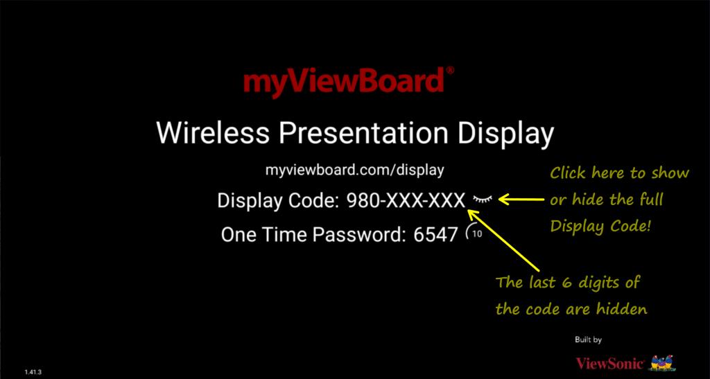 Ảnh chụp màn hình phiên bản myViewBoard Display cho Android tích hợp tính năng bật và tắt Mã Màn Hình.