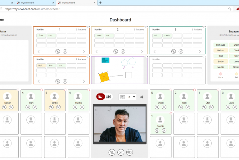 View students in the dashboard on myViewBoard Classroom