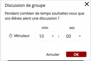 Définir juqu'à une heure de discussion de groupe